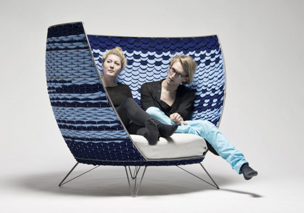 blue contemporary chair made of wool felt