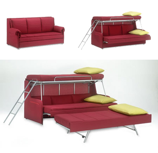 red sofa transforming into triple bunk beds