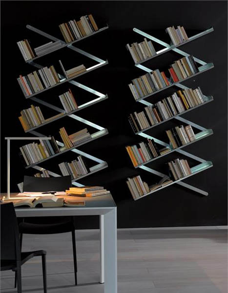 wall decorating with book shelves