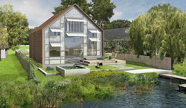 modern house design on pontoon