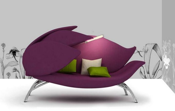 Lily Flower Inspired Modern Sofa In Purple Color With Closed Petals, Nature  Inspired Living Room Furniture Design Idea