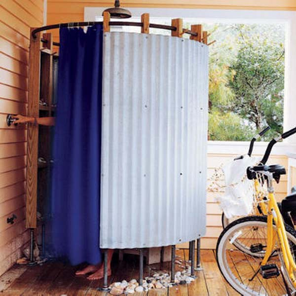blue shower curtain for simple outdoor shower