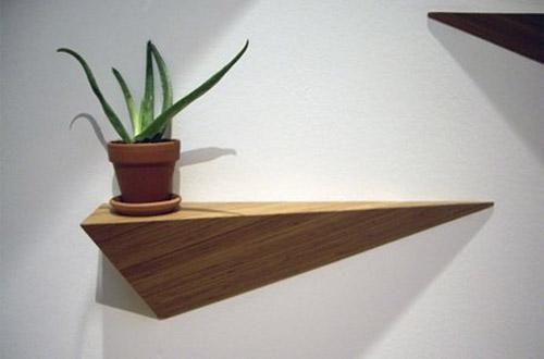Beautiful Wood Shelves, Triangular Wall Mount Shelves For Modern Interior  Decorating