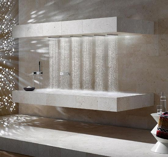 contemporary shower with heated bench