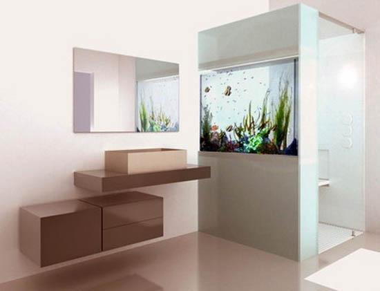 contemporary bathroom design with aquarium