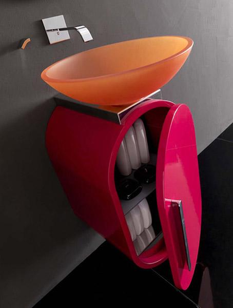 orange sink and pink cabinet