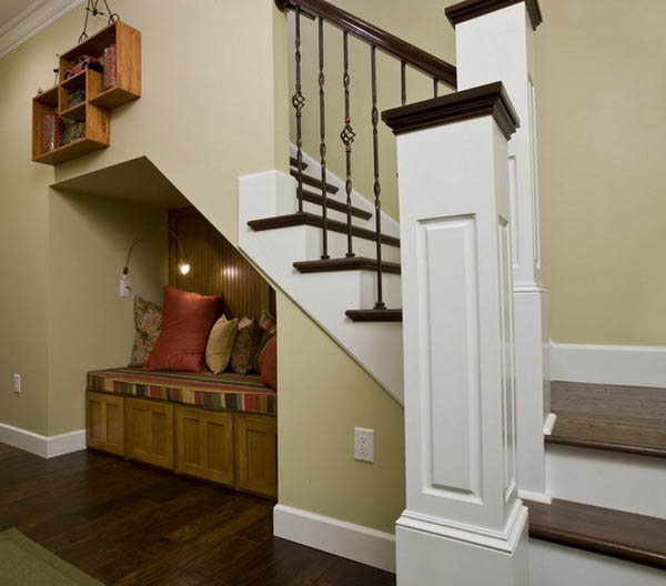 Creative interior design idea to maximize the space under stairs seating bench with storage under the staircase & 16 Interior Design Ideas and Creative Ways to Maximize Small Spaces ...