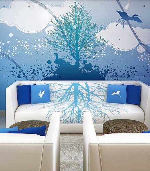 fabric prints, wall stickers and blue painting ideas for wall decoration
