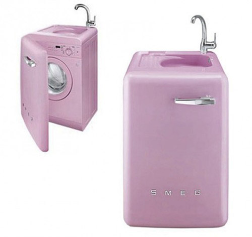 pink washer for small spaces from smeg