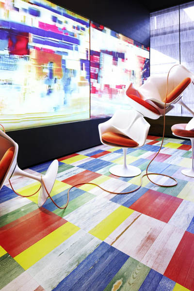 colorful parquet flooring