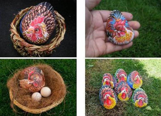 handmade easter decorations made of rocks