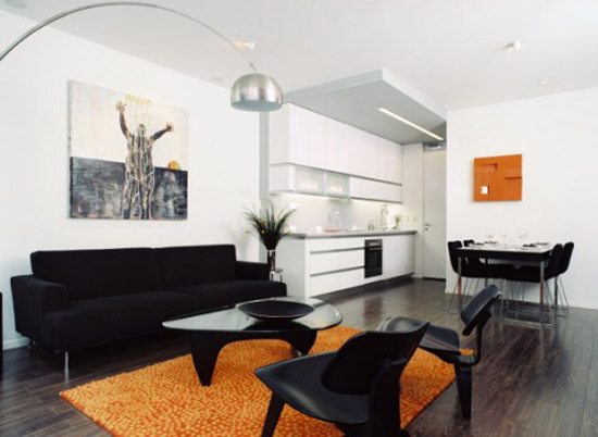 Black And White With Color Accents Orange Decorating Accessories For Living Room Design