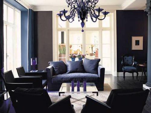 Black And Blue Color Scheme For Living Room Design