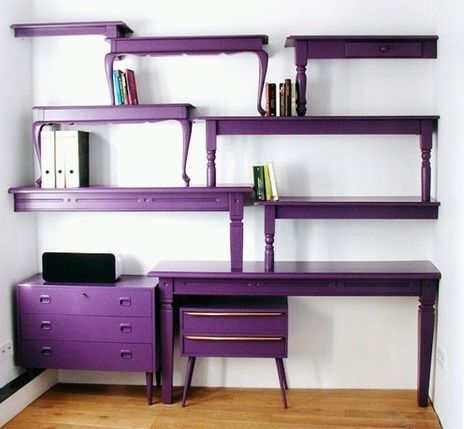 purple shelving unit made of stacked wooden tables