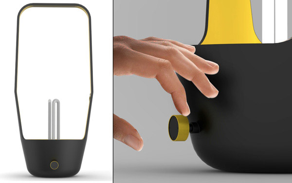 portable light in black and yellow colors