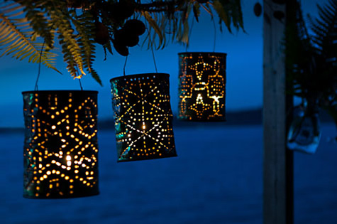 outdoor lights made of empty metal cans
