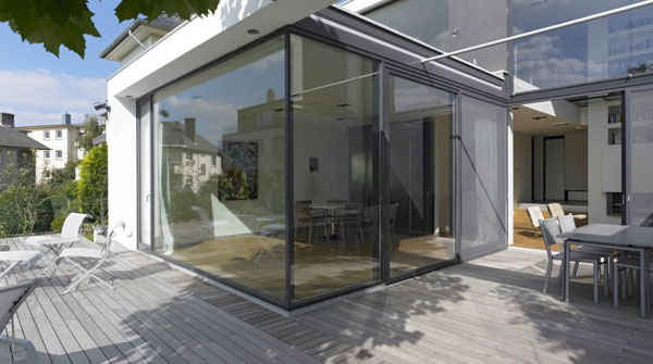 glass walls and sliding glass door