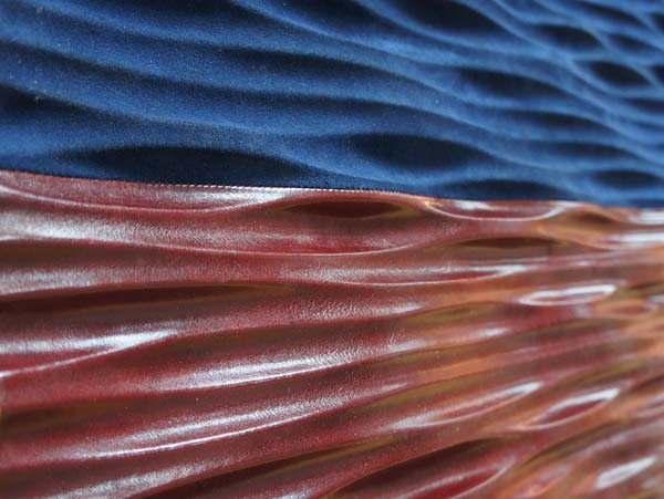 blue and deep red leather for wall decorating