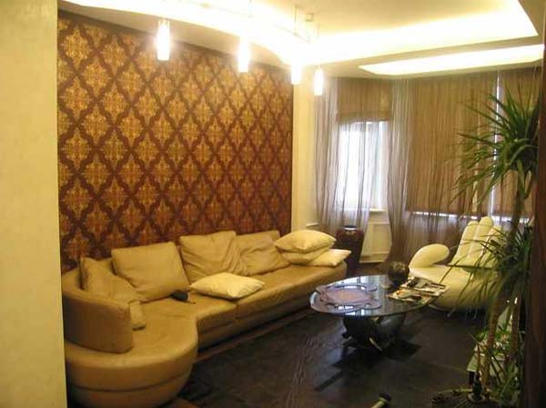 wall design with leather panels