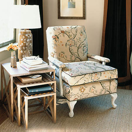 Upholstered Chair And Side Tables For Living Room Corner Decorating