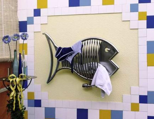 bathroom decorating with fish towel heater