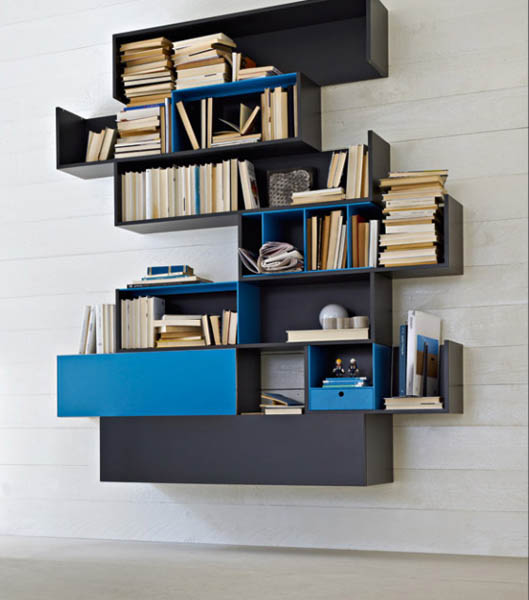 blue and black wall shelves