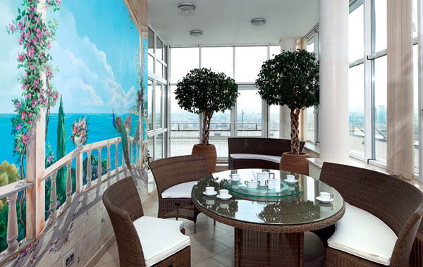 wall mural and dining furniture
