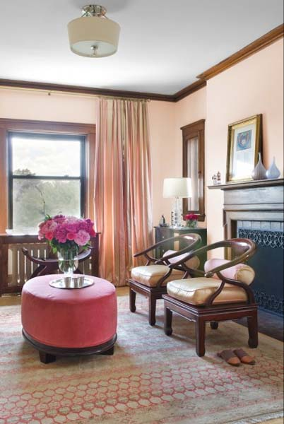 Geometric Ornaments And Floral Designs In Peach And Pink Color Shades  Brighten Up Home Furnishings And Create Lovely House Exterior Color  Schemes, ...