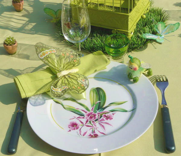 floral dishes and green napkins