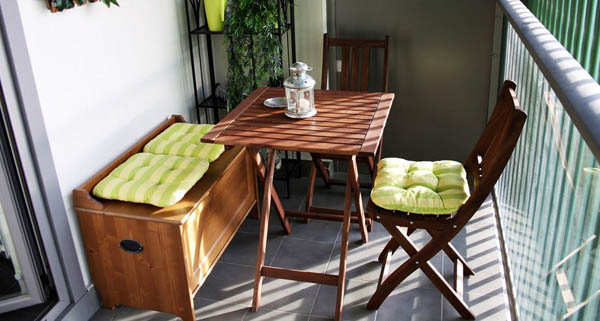 Small Balcony Design With Dining Furniture