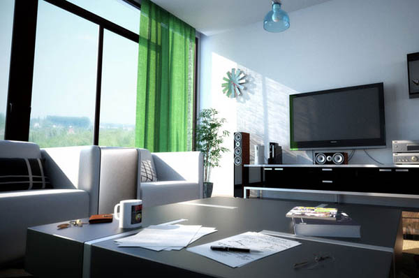 modern living room with green curtains