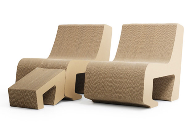 Cardboard Chairs With Footrests, Eco Friendly Products
