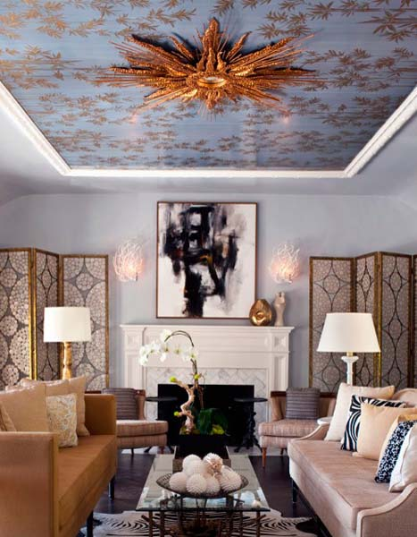 living room with wallpaper on ceiling