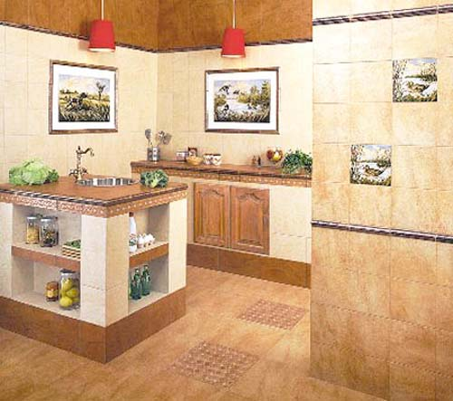 kitchen decorating with brown tiles