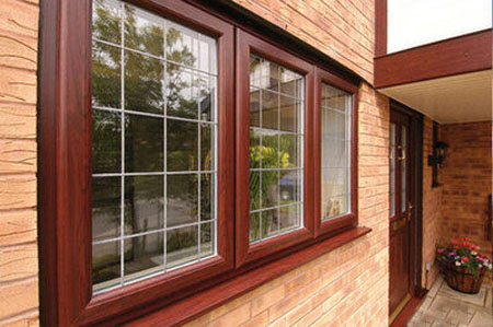 house windows in reddish brown color
