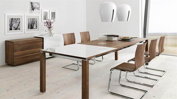 Wood And Glass Top Dining Tables, Wooden Chairs With Metal Frames, Room  Decorating With Glass Furnishings
