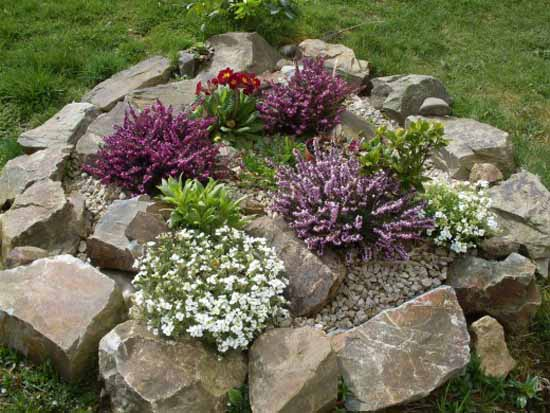Small Rock Garden Idea, Yard Decorating With Flowers And Rocks