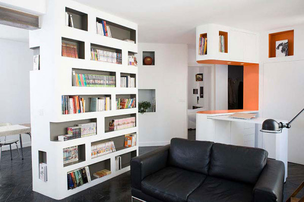 book shelves integrated into wall design