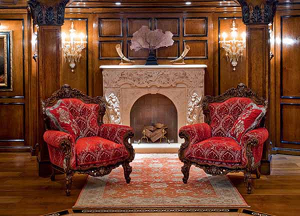 red chairs and white fireplace
