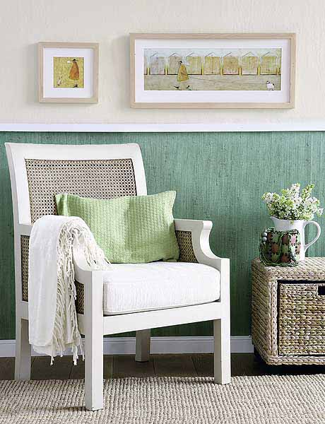 white chair with green pillow