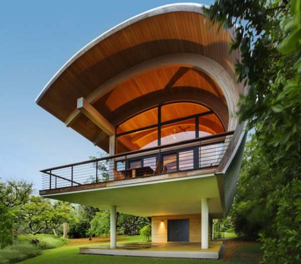 Organic design ideas guest house design with curved wood for Curved roof house plans