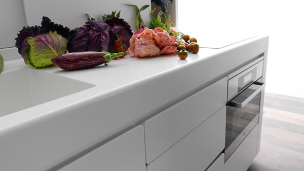 lower kitchen cabinet with integrated sink