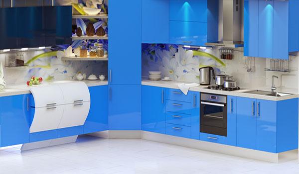 Blue Kitchen Cabints And Gl Wall Panels For Modern Backsplash Design