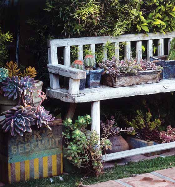 Recycling Old Chairs And Benches For Blooming Garden