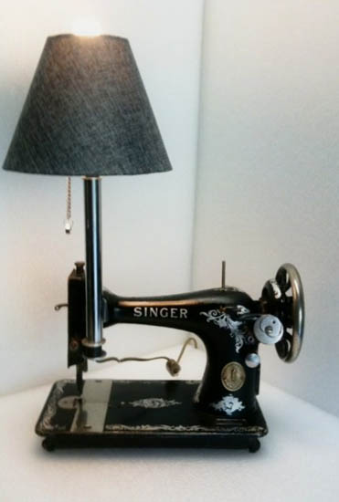 recycling sewing machines for table lamp