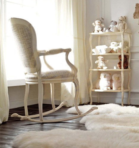 Painting Wooden Rocking Chairs For Bright Baby Nursery Decor