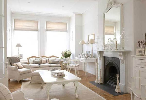 Attractive White Home Decorating, Living Room With Fireplace And Large Mirror, White  Paint And Home Furnishings