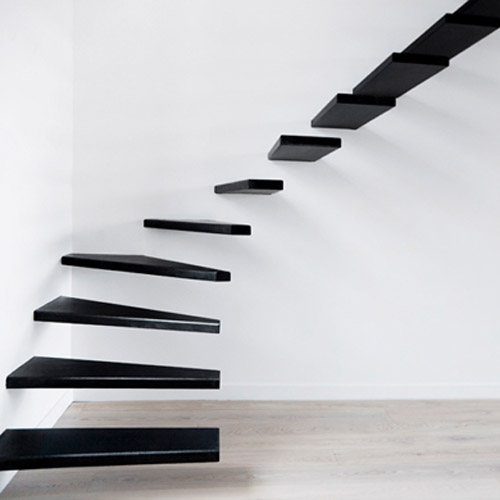 Contemporary Staircase Design Black And White Paint Colors