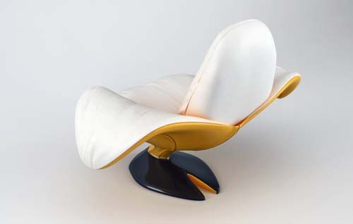 contemporary armchair in white and yellow colors
