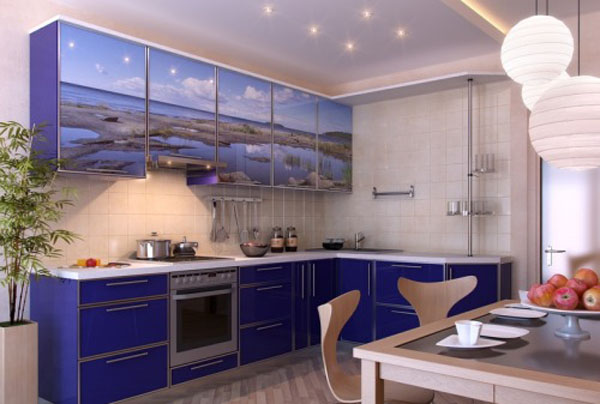 light and deep blue kitchen cabinets